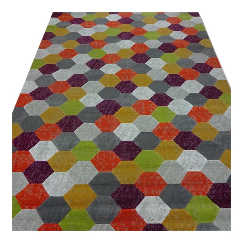 Covor pentru camera copiilor Texture, 160 x 230 cm, polipropilena, model geometric, Multicolor 2021 shopu.ro