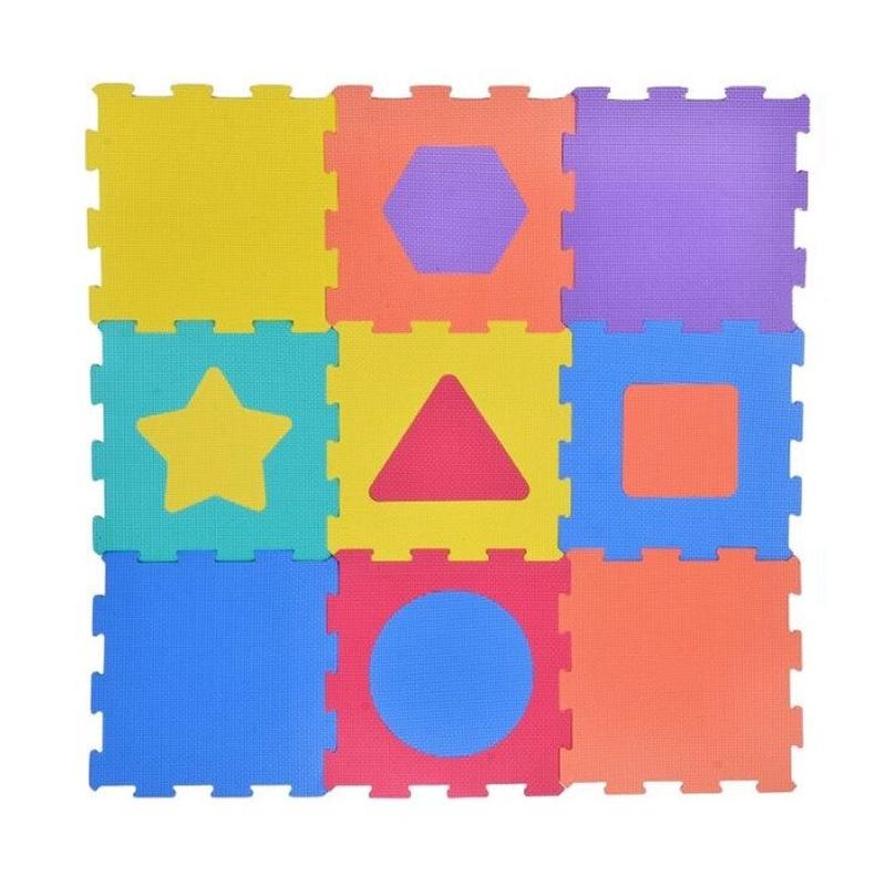 Covoras tip puzzle, 31.5 x 31.5 cm, 9 piese, imprimeu figuri geometrice 2021 shopu.ro