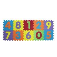 Covoras tip puzzle Ludi, spuma, 10 piese, 143 x 59 cm, 10 luni+, model cifre, Multicolor