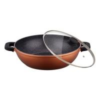Tigaie aluminiu tip wok Peterhof, 4.1 l, invelis granit, capac