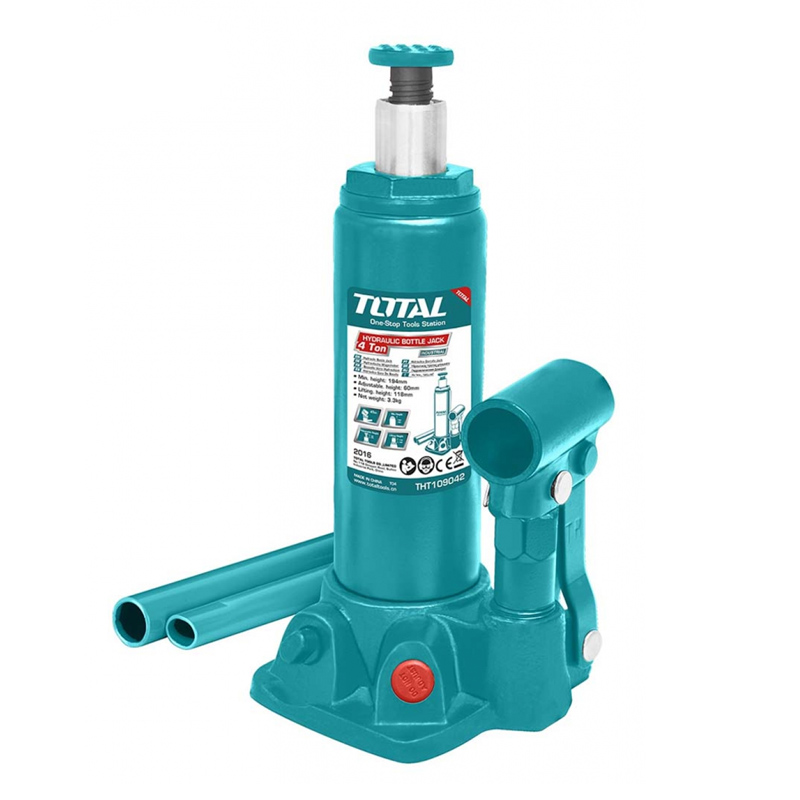 Cric hidraulic auto Total Industrial, 4 tone, supapa siguranta, tip butelie 2021 shopu.ro