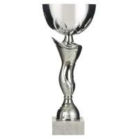 Cupa argintie, plastic si marmura, 29 cm