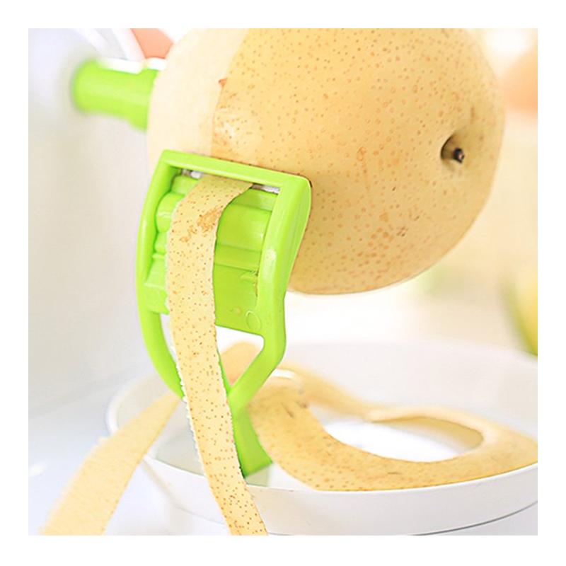 Curatator de mere mecanic 2 in 1 Apple Peeler, Alb/Verde