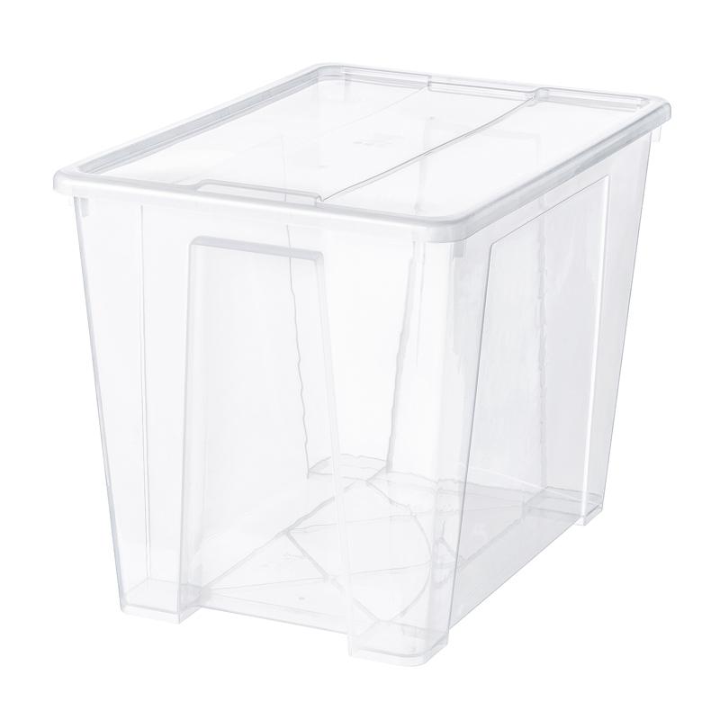 Cutie depozitare cu capac, 65 l, 57 x 39 x 42 cm, Transparent shopu.ro