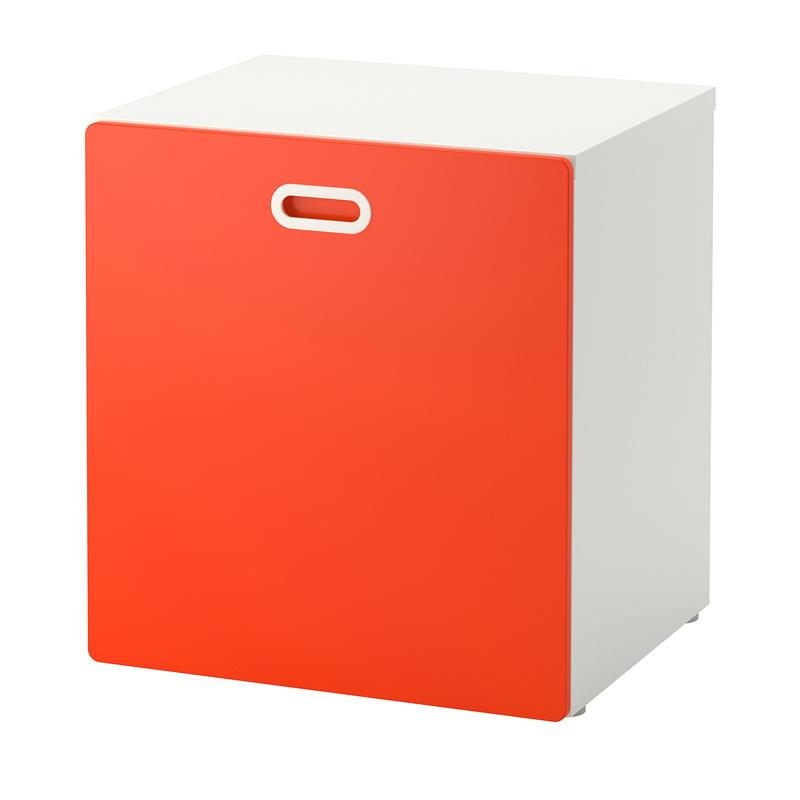 Mini dulap cu roti pentru depozitare jucarii, picioare reglabile, Alb/Rosu