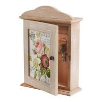 Cutie lemn pentru chei, 18 x 6 x 25 cm, model floral