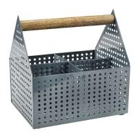 Cutie depozitare, 15 x 20 x 20 cm, metal/lemn, Gri