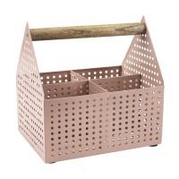 Cutie depozitare, 15 x 20 x 20 cm, metal/lemn, Roz