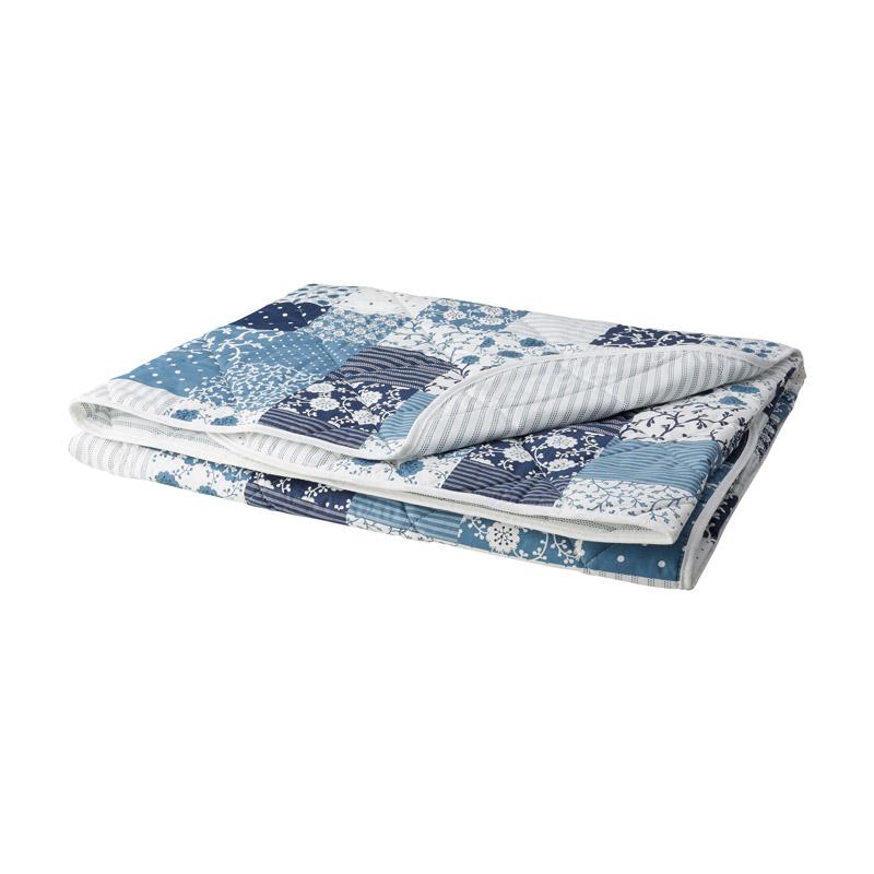 Cuvertura bumbac, 220 x 240 cm, textura matase, Alb/Albastru shopu.ro