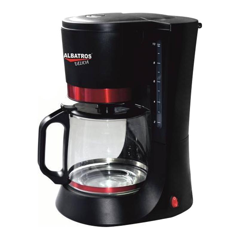 Filtru de cafea Delicia Albatros, 10 cesti, 680 W, Negru/Rosu 2021 shopu.ro
