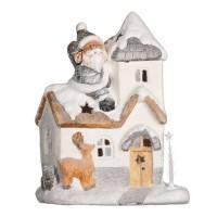 Decoratiune ceramica de Craciun, 8 x  LED, 35 x 19 x 46 cm, model casuta
