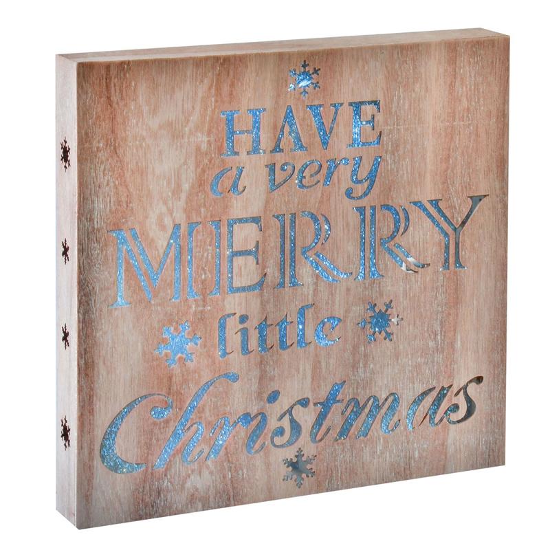 Decoratiune lemn Merry Little Christmas, 15 x LED, 30 x 30 cm 2021 shopu.ro