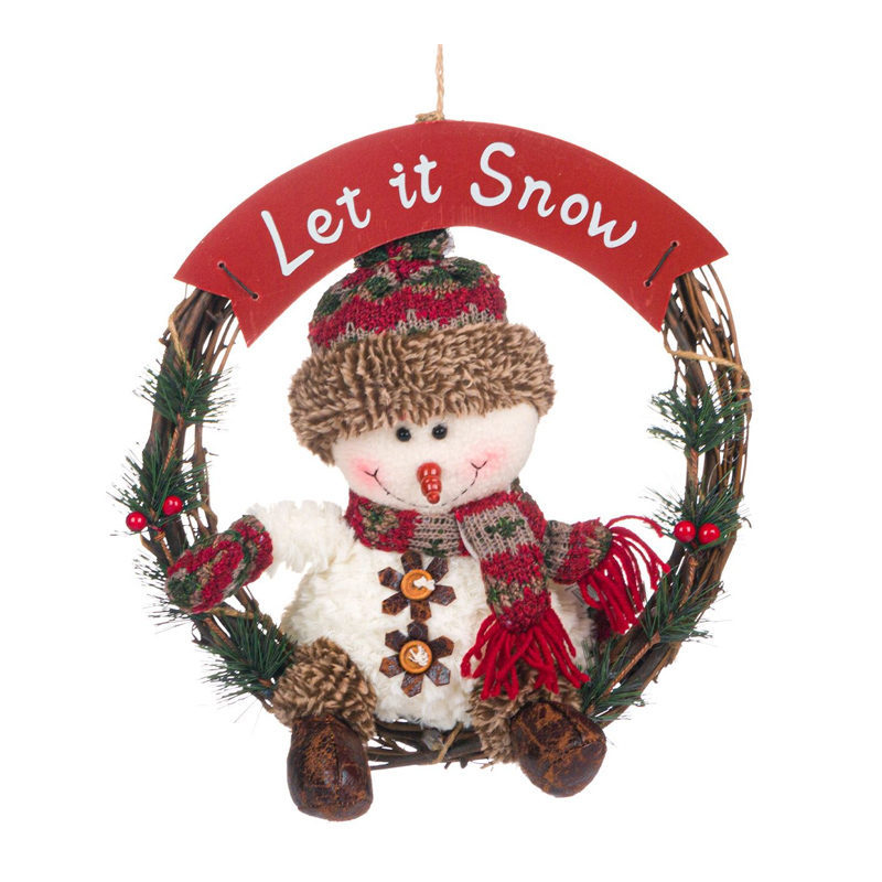 Decoratiune sarbatori tip coronita pentru usa, 30 cm, model Om de zapada, mesaj Let it Snow