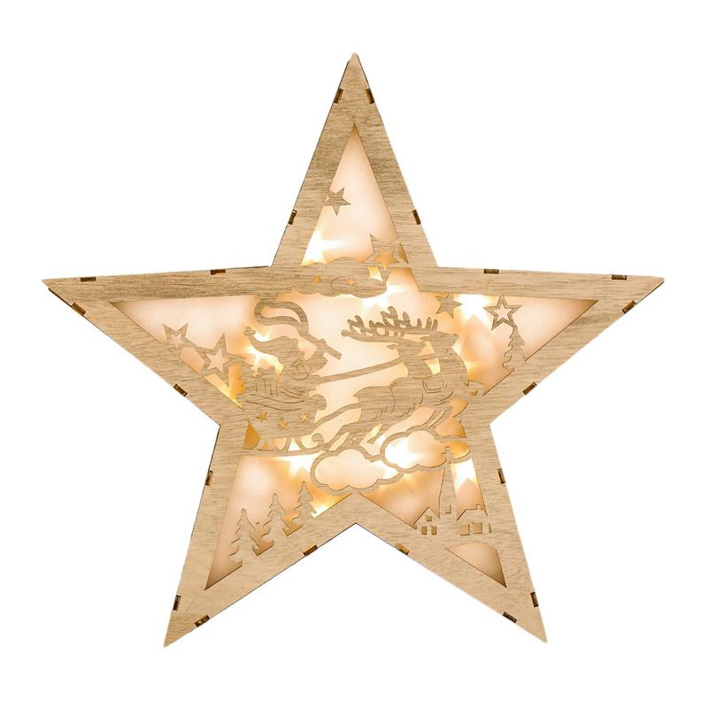 Decoratiune tip stea din lemn cu lumini, 34 x 6 cm, 10 x LED, model Mos Craciun 2021 shopu.ro