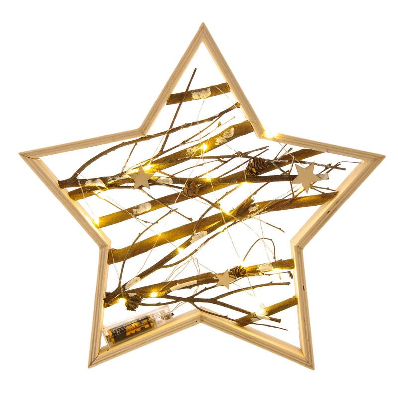 Decoratiune tip stea din lemn cu lumini, 20 x LED, 29 x 5 cm