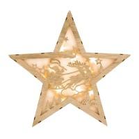Decoratiune tip stea din lemn cu lumini, 34 x 6 cm, 10 x LED, model Mos Craciun