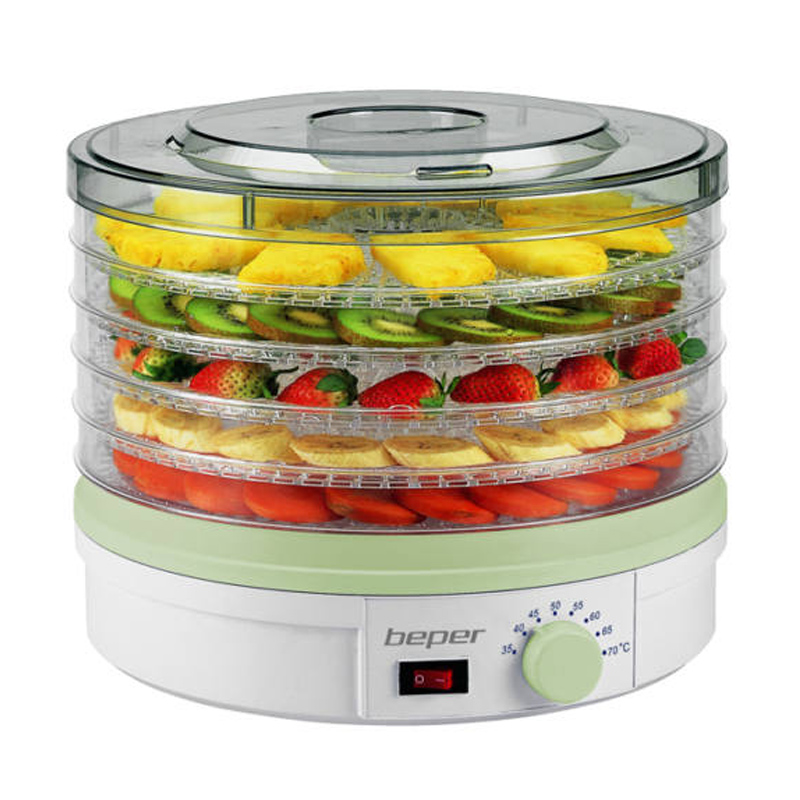 Deshidrator automat de fructe Beper, 245 W, capacitate 5 kg, LED, 5 recipiente 2021 shopu.ro