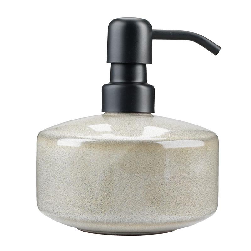 Dozator manual de sapun, 11 x 13 cm, ceramica/polipropilena, Bej 2021 shopu.ro