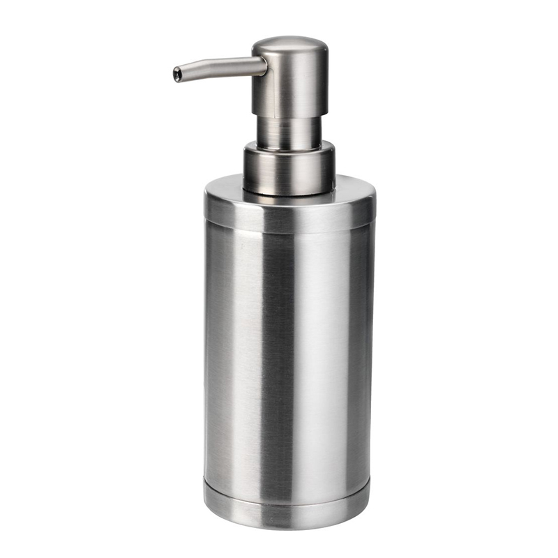 Dozator manual de sapun, 6 x 17 cm, otel inoxidabil/polipropilena, Argintiu 2021 shopu.ro