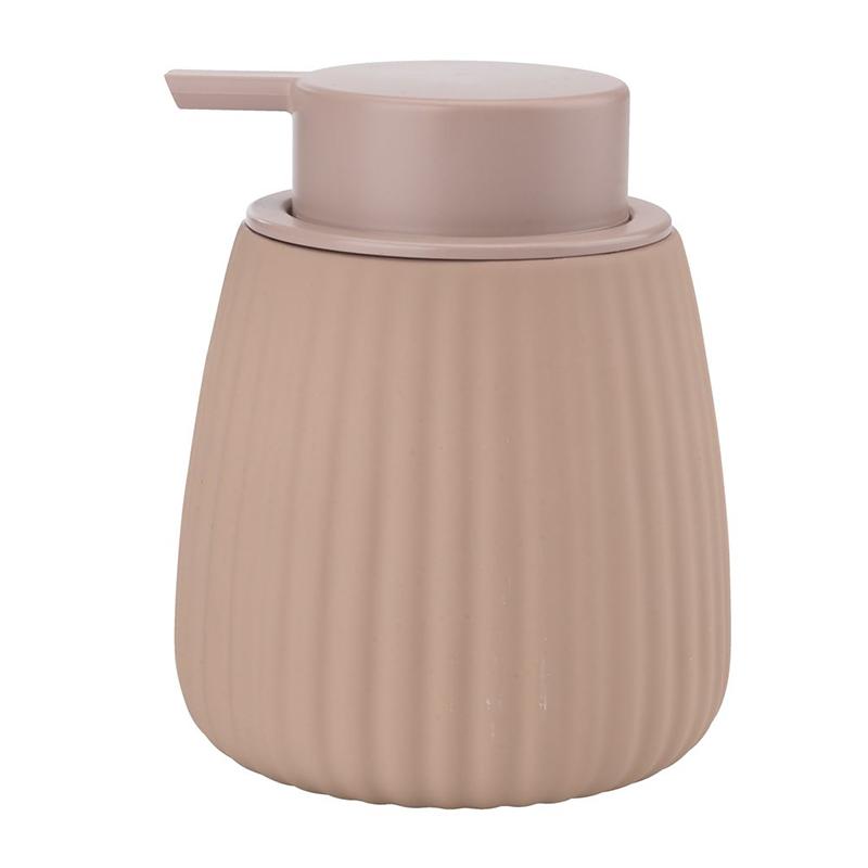 Dozator manual de sapun, 9 x 12 cm, plastic/ceramica, Roz shopu.ro