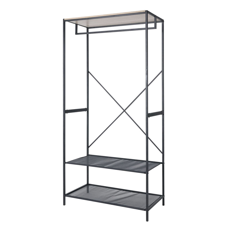 Dulap haine Stand with Shelves, 80 x 40 x 170 cm, 2 rafturi, suport umerase 2021 shopu.ro
