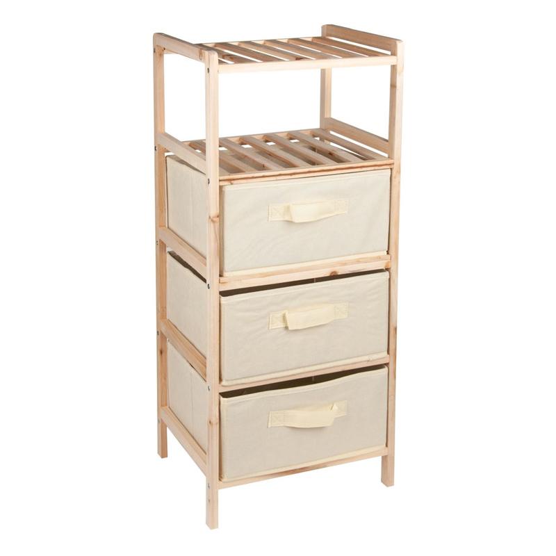 Dulap pentru baie Wooden, 32 x 26 x 76 cm, 2 rafturi, 3 sertare shopu.ro