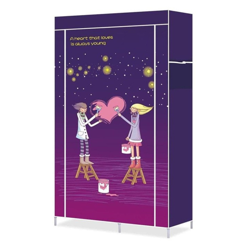 Dulap textil Portable Warderobe 105QJ, 170 x 105 x 45 cm, imprimeu Love 2021 shopu.ro