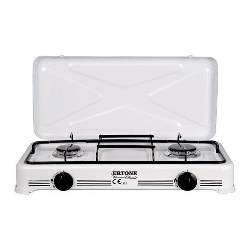 Minigaz emailat Ertone, 2 arzatoare, Alb 2021 shopu.ro
