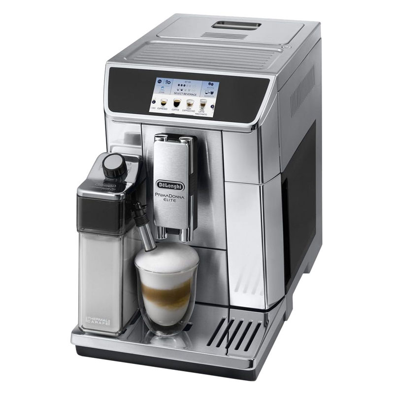 Espressor automat DeLonghi Primadonna Elite ESAM 650.75MS, 1450 W, 15 bar, 1.8 l, 2 duze, display 4.3 inch, iluminare cana, Argintiu/Negru 2021 shopu.ro