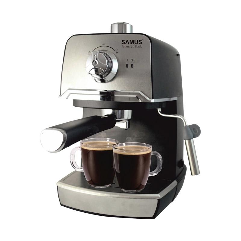 Espressor cafea Samus Aroma, 850 W, rezervor 1200 ml, presiune 20 bari, Negru/Argintiu 2021 shopu.ro