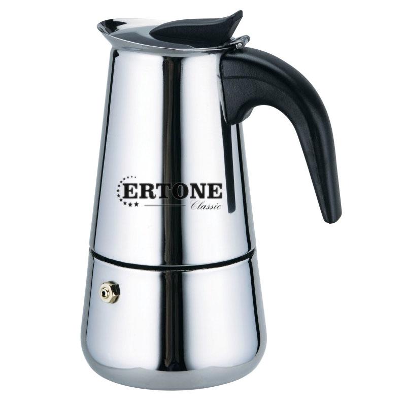 Espressor cafea manual pentru aragaz Ertone, inox, capacitate 12 cesti