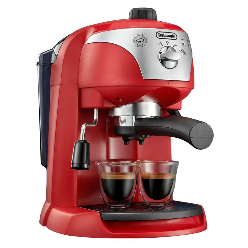 Espressor cu pompa DeLonghi EC221, 1100 W, 1 l, 15 bar, dispozitiv spumare, sistem cappuccino, oprire automata, Rosu 2021 shopu.ro
