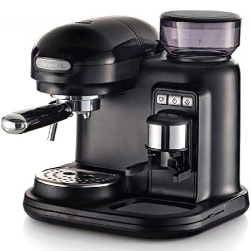 Espressor manual Ariete Moderna, 1080 W, 800 ML, 250 g, 15 bar, rasnita incorporata, sistem cappuccino, suport inox, Negru 2021 shopu.ro