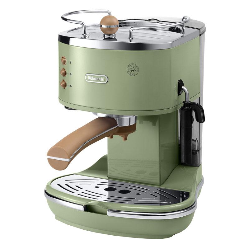 Espressor manual DeLonghi Vintage ECOV311.GR, 1100 W, 15 bar, 1.4 l, sistem cappuccino, Verde 2021 shopu.ro
