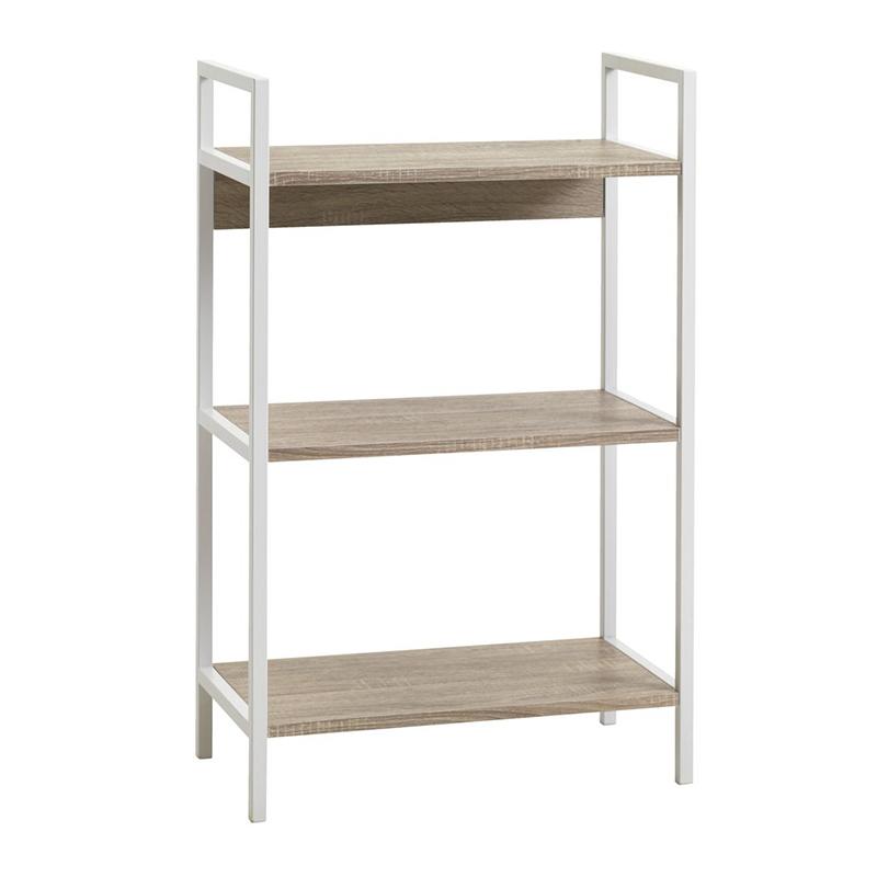 Etajera cu 3 rafturi, 60 x 94 x 32 cm, PFL/PVC, cadru metal, Alb/Stejar shopu.ro