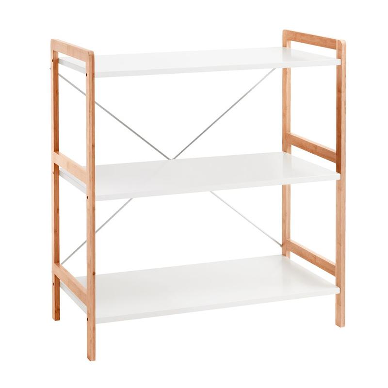 Etajera cu 3 rafturi, 70 x 78 x 37 cm, bambus/MDF, cadru metal, Alb/Natur shopu.ro