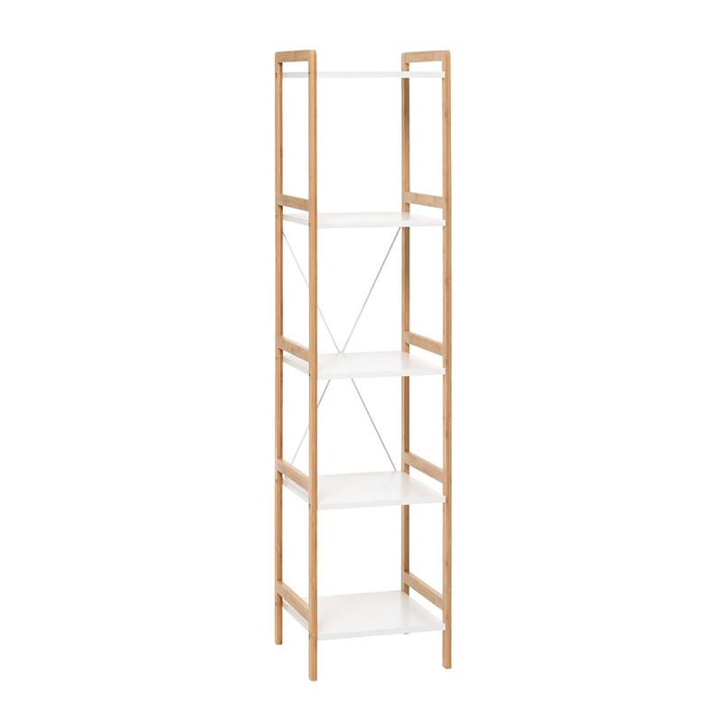 Etajera ingusta cu 5 rafturi, 35 x 150 x 37 cm, bambus/MDF, cadru metal, Alb/Natur shopu.ro