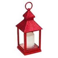 Felinar decorativ pentru Craciun, 11 x 11 x 28 cm, lumanare LED, Rosu