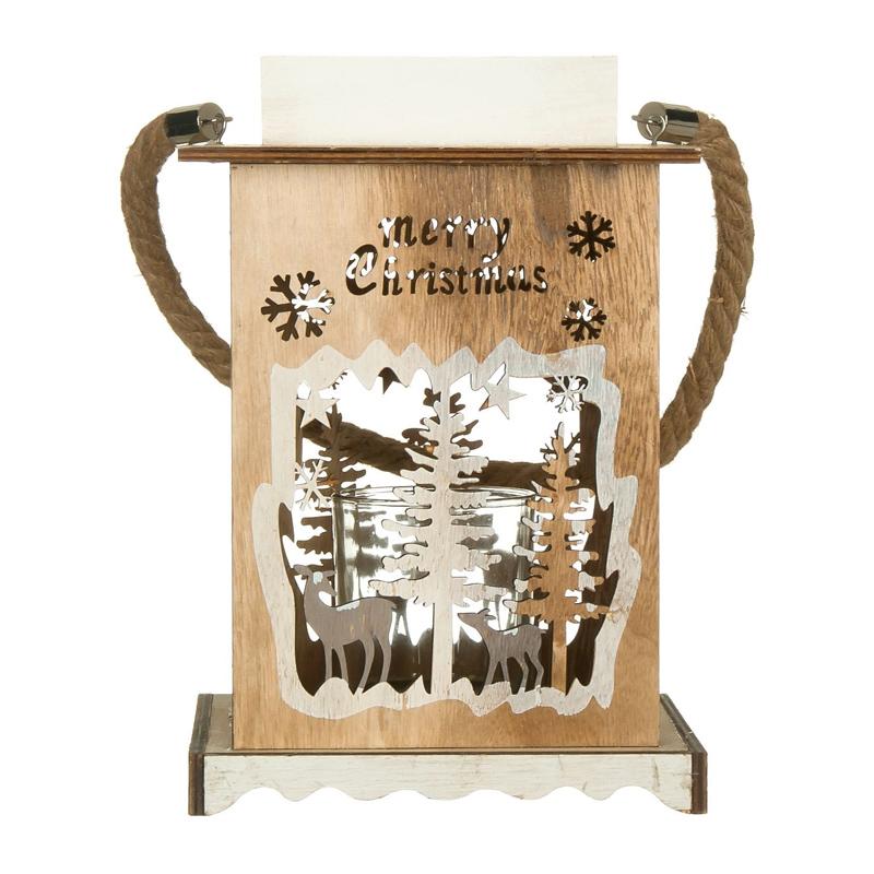 Felinar decorativ pentru Craciun, 17 x 17 x 26 cm, model braduti