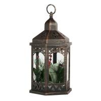 Felinar decorativ pentru Craciun, 18 x 35 cm, lumanare LED