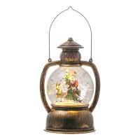 Felinar decorativ pentru Craciun, LED, 10 x 19 cm, figurina Mos Craciun