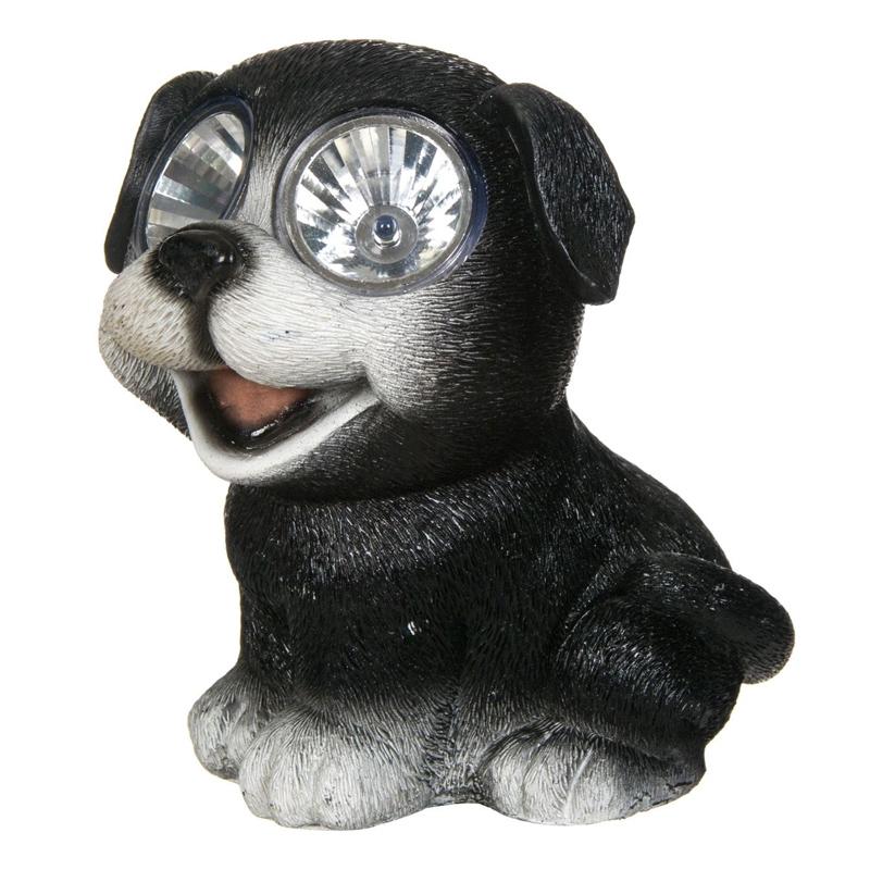 Lampa solara Doggie Black, 15 cm, model catel 2021 shopu.ro