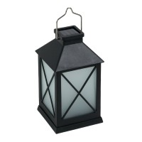 Felinar solar pentru terasa Blurry Flame, 10 x 10 x 20 cm, efect flacara, Negru
