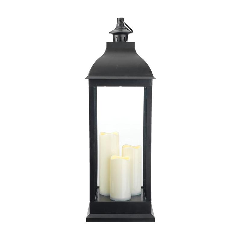 Felinar cu LED, 1.5 lm, 2500 K, 24 x 24 x 70 cm, plastic/sticla, Negru shopu.ro