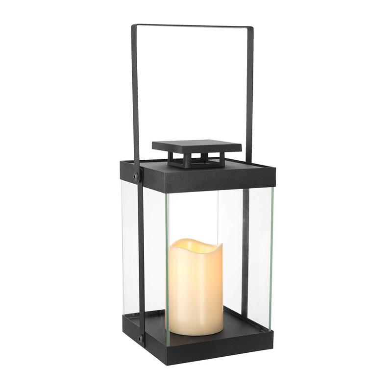 Felinar cu LED, 15 x 15 x 27 cm, metal/sticla, Negru shopu.ro