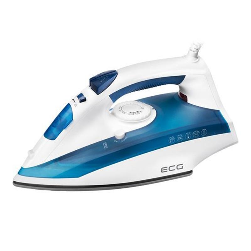 Fier de calcat Ecg, 2200 W, 360 ml, jet abur 100 g/min, oprire automata, talpa ceramica, Alb/Albastru 2021 shopu.ro