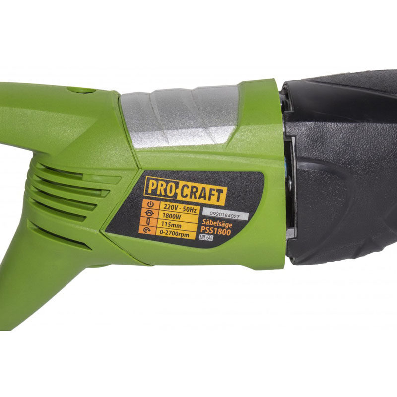 Fierastrau tip sabie Procraft PSS1800, 1800 W, 2700 rpm,  lemn 115 mm, 2 lame