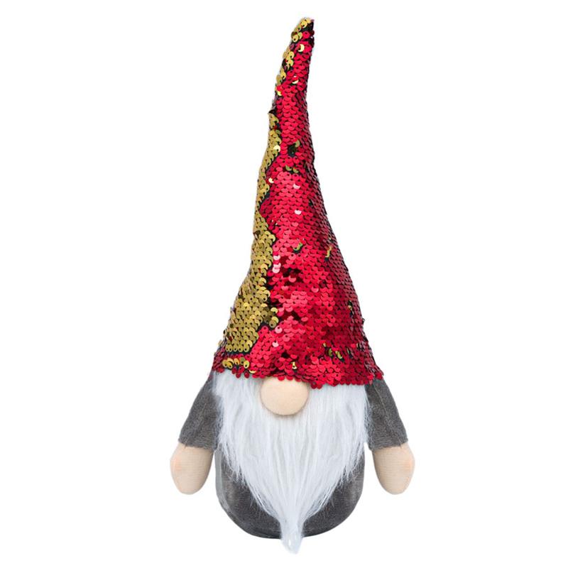 Figurina Mos Craciun, 20 x 12 x 36 cm, caciula paiete 2021 shopu.ro