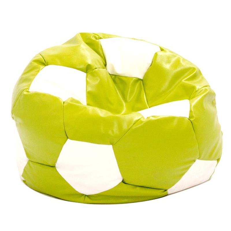 Fotoliu tip puf, imitatie piele, 74 cm, model minge de fotbal, Verde/Alb