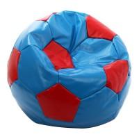 Fotoliu tip puf, imitatie piele, 74 cm, model minge de fotbal, Albastru/Rosu